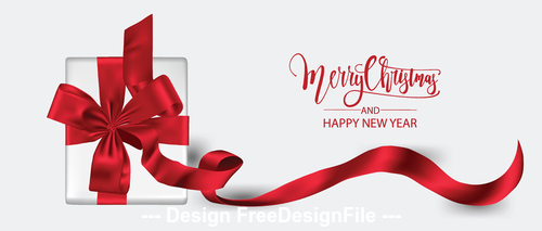 Red ribbon new year gift box vector