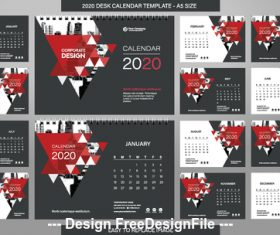 Red triangle new year wall calendar template vector