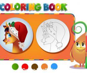 Reindeer in christmas coloring book vector