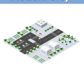 Residential parking lot module cartoon vector