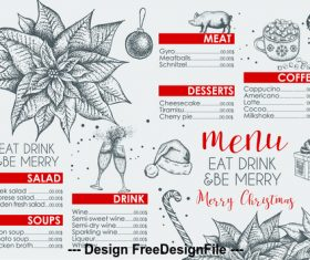 Restaurant christmas menu vector
