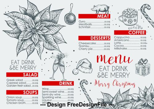 Restaurant christmas menu vector