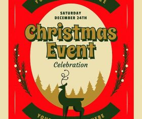 Retro Christmas Party Event Flyer Psd Template