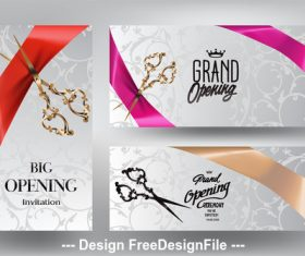 Ribbon cutting ceremony invitation cards with scissors and silk ribbons vector