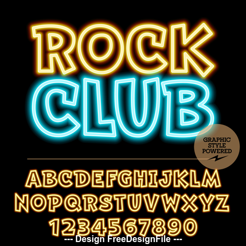 Rock club color alphabet vector