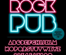 Rock pub color alphabet vector