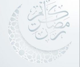 Round arabic calligraphy ramadan kareem mosque night covered vecto
