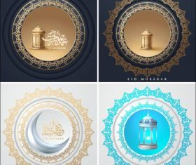 Round arabic style greeting decorated card vector