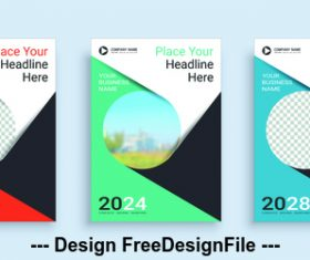 Round icon poster cover design template vector