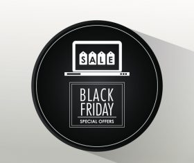 Round special offer sblack friday flyer vector