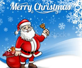Santa Claus giving gift background vector