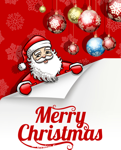 Santa claus and balls decoration background vector