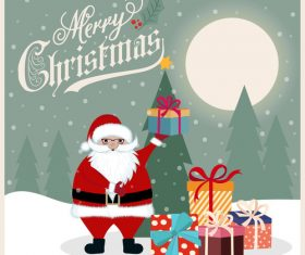 Santa claus and gift cartoon element vector