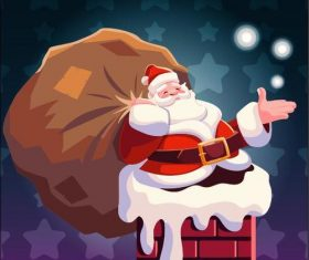 Santa claus giving a gift illustration vector
