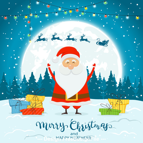 Santa claus on winter background with gifts and deer vector