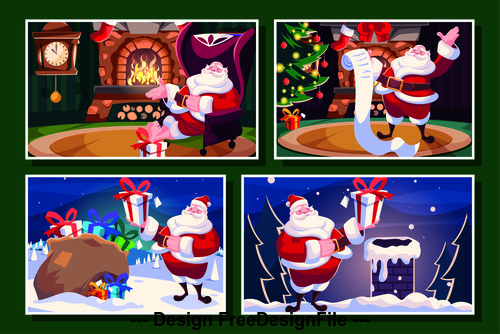 Santa with gifts illustration vector