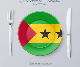 Sao Tome and Principe authentic cuisine and flag circ icon vector
