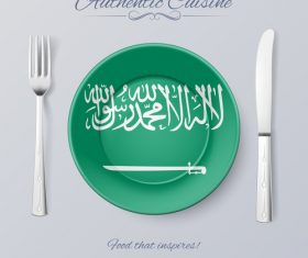 Saudi Arabia authentic cuisine and flag circ icon vector