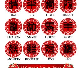 Seal character chinese zodiac signs font vector