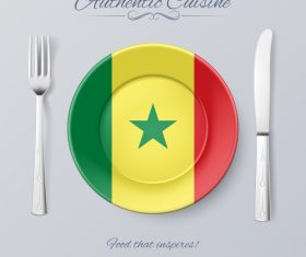 Senegal authentic cuisine and flag circ icon vector