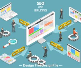 Seo link building concept illustration vector