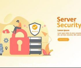 Server security cartoon illustration vector