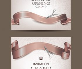 Set of beige invitation grand opening cards vector