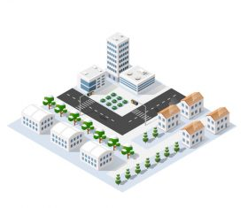 Set of cartoon city modules vector