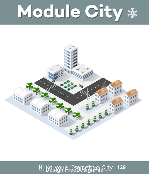 Set of cartoon city modules vector