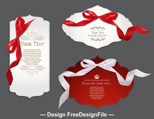 Set of elegant cards with silk ribbons vector