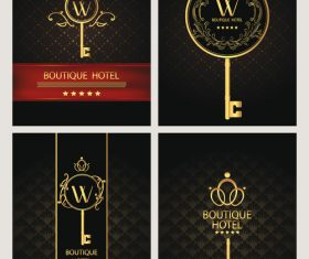 Set of gold boutique hotel cards vector