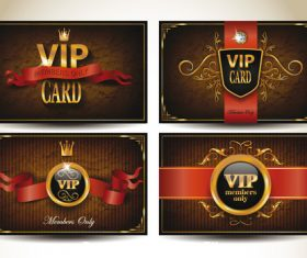 Set of vintage VIP cards with red ribbons vector