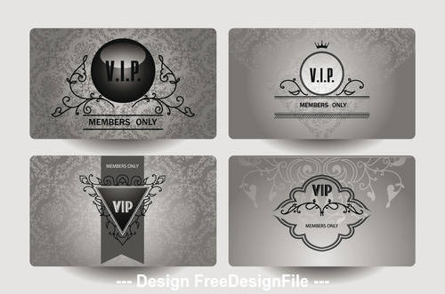 Set of vintage ornate VIP silver cards vector
