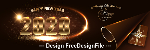 Shining 2020 new year background vector