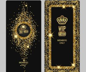 Shiny VIP vertical gold cards vector