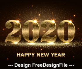 Shiny gold word 2020 christmas card vector