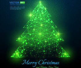 Shiny green abstract christmas tree vector