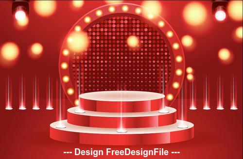 Shiny lights abstract round podium backgrounds vector