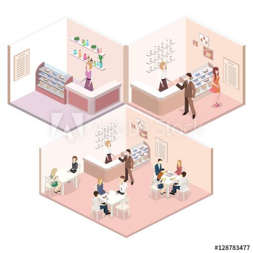 Shopping center 3D building model vector