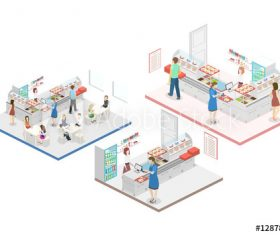 Shopping mall 3D building model vector