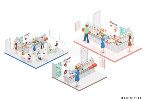Shopping mall 3D building model vector