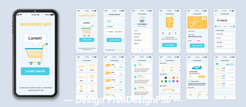Shopping mobile app Ui Kit Screen vector