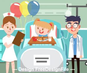 Sick child cartoon Illustration vector