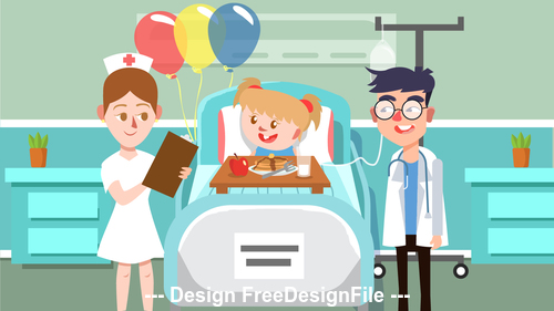 Sick child cartoon Illustration vector