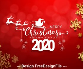 Silhouette 2020 christmas card vector
