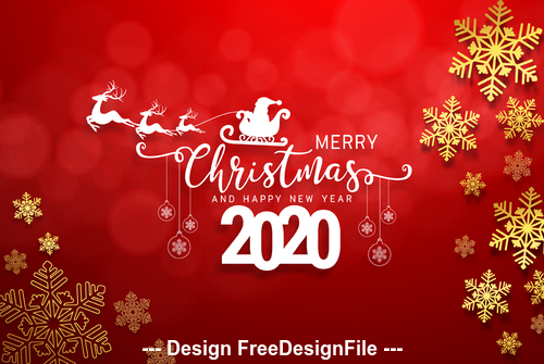 Silhouette 2020 christmas card vector free download