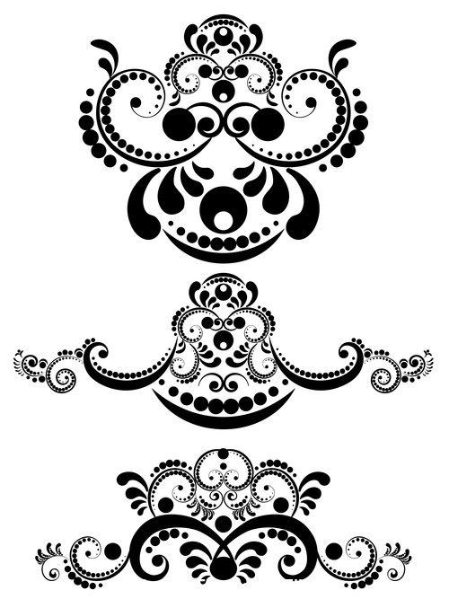 Silhouette floral ornament vector