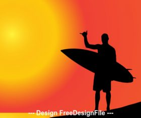 Silhouette of man holding skateboard vector