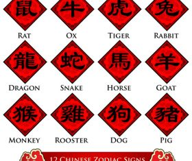 Simplified Chinese zodiac signs design vector