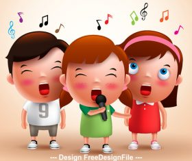 Singing children vector